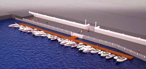 Картинка вероятного облика бухты: катера и яхты пришвартованы к понтонному причалу, а набережная обнесена забором
