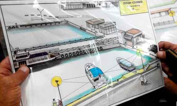 Проект предложения от владельцев МС - зону причала покрасить, а вокруг установить видеонаблюдение